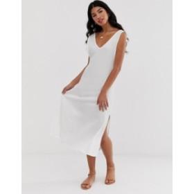 エイソス レディース ワンピース トップス ASOS DESIGN midi textured column dress White