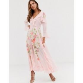 エイソス レディース ワンピース トップス ASOS DESIGN embroidered wrap maxi dress with long sleeves Pink