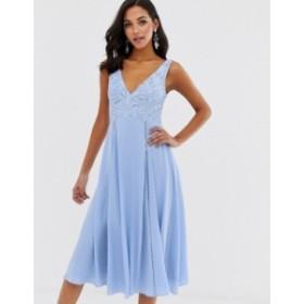 エイソス レディース ワンピース トップス ASOS DESIGN midi sleeveless dress with lace bodice Cornflower blue