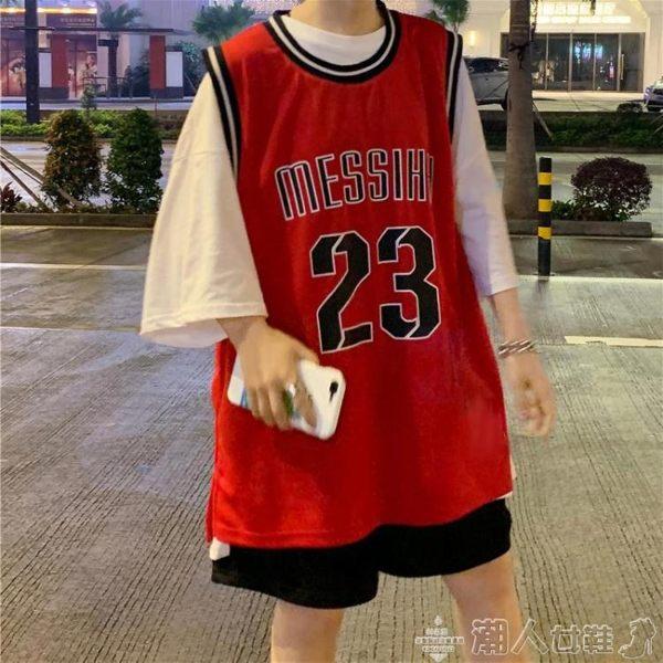 球衣女寬鬆外穿韓版無袖t恤籃球服背心原宿bf風學生運動上衣夏季