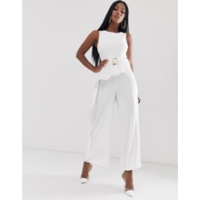 エイソス レディース ワンピース トップス ASOS DESIGN peplum belted jumpsuit White