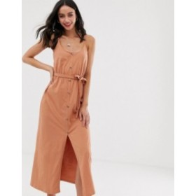 エイソス レディース ワンピース トップス ASOS DESIGN button through maxi dress with self belt Toasted nut