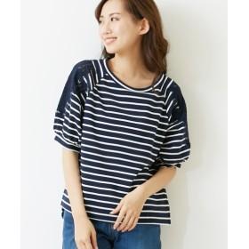 透け感レースがかわいい♪ミニ裏毛袖切替5分袖トップス (Tシャツ・カットソー)(レディース)T-shirts