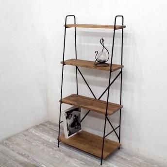 アイアン斜め棚(棚板4段、茶色)w60cm、h130cm 定番サイズ