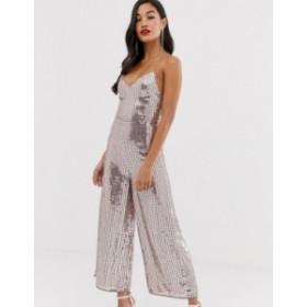 エイソス レディース ワンピース トップス ASOS DESIGN sequin strappy cross back culotte jumpsuit Metallic pink