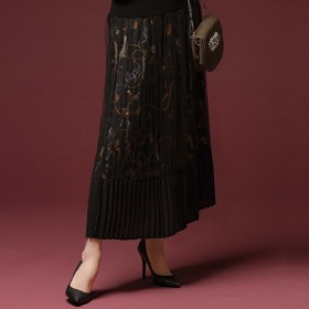 GeeRA チェーン柄チュールプリーツスカート L レディース 5,000円(税抜)以上購入で送料無料 ロングスカート 夏 レディースファッション アパレル 通販 大きいサイズ コーデ 安い おしゃれ お洒落 20代 30代 40代 50代 女性 スカート