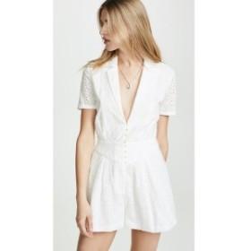 ディバイン ヘリテージ Divine Heritage レディース オールインワン ワンピース・ドレス Collared Button Up Pleated Romper White Light