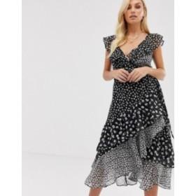 オールセインツ レディース ワンピース トップス AllSaints kari scatter dress midi dress in floral mix and match print Black