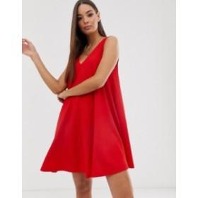 エイソス レディース ワンピース トップス ASOS DESIGN sleeveless textured mini v-neck swing dress Red