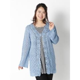 【大きいサイズレディース】手編みモチーフカーディガン トップス カーディガン