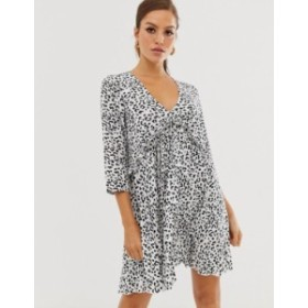 エイソス レディース ワンピース トップス ASOS DESIGN pleated smock mini dress in mono leopard print Mono leopar