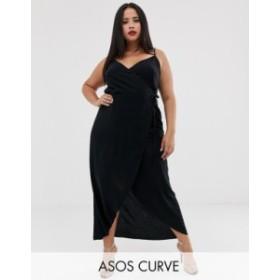 エイソス レディース ワンピース トップス ASOS DESIGN Curve cami wrap maxi dress Black