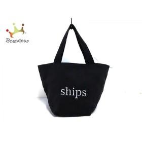 シップス SHIPS トートバッグ 黒×シルバー キャンバス   スペシャル特価 20191005