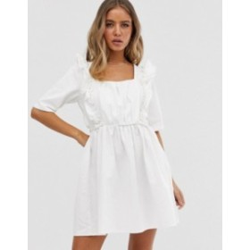 エイソス レディース ワンピース トップス ASOS DESIGN denim square neck frill smock dress in white White