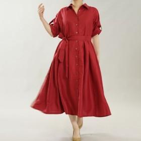 【wafu】中厚 リネン ワンピース 2wey シャツ襟 織にも リネンドレス /ルビーレッド a064a-rre2
