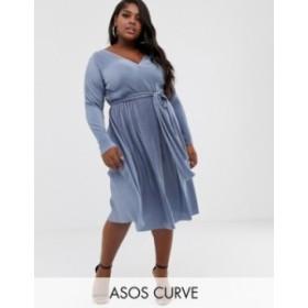 エイソス レディース ワンピース トップス ASOS DESIGN Curve plisse tie belt midi dress Blue