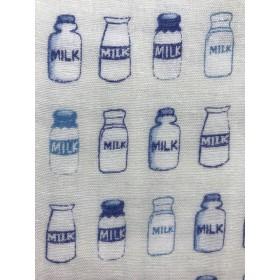 【Wガーゼ50×50】MILK瓶・ホワイト×ブルー