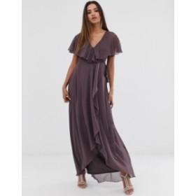 エイソス レディース ワンピース トップス ASOS DESIGN cape back dipped hem maxi dress Purple
