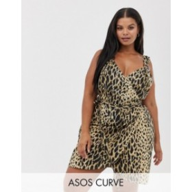 エイソス レディース ワンピース トップス ASOS DESIGN Curve linen wrap mini sundress with wooden rings in leopard print Leopard pr