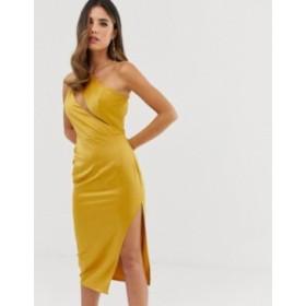 エイソス レディース ワンピース トップス ASOS DESIGN midi dress in satin with spliced bodice Gold