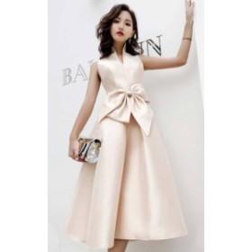 韓国 ファッション レディース パーティードレス ワンピース ミモレ丈 リボン Vネック ハイウエスト ノースリーブ お呼ばれ 結婚式 二次
