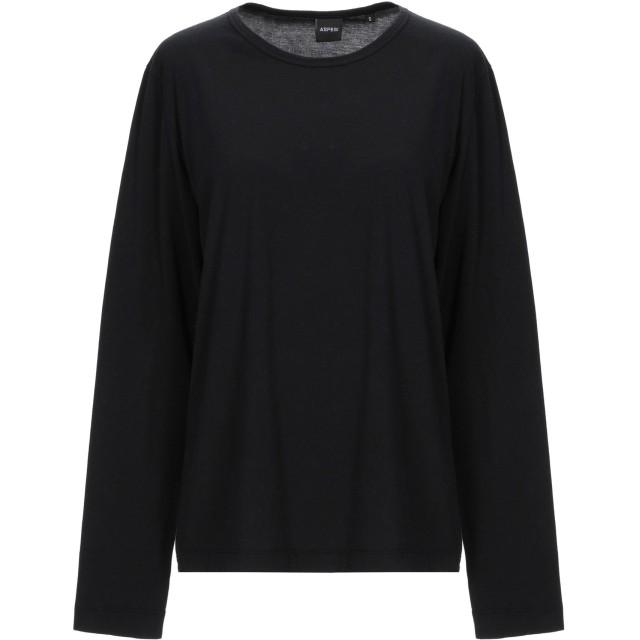 《9/20まで! 限定セール開催中》ASPESI レディース T シャツ ブラック S コットン 100%