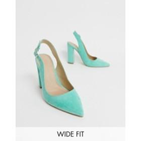 エイソス レディース ヒール シューズ ASOS DESIGN Wide Fit Penley slingback high block heels in aqua Aqua