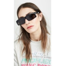 バレンシアガ Balenciaga レディース メガネ・サングラス Hybrid Acetate Narrow Sporty Sunglasses Black with Solid Grey Lens