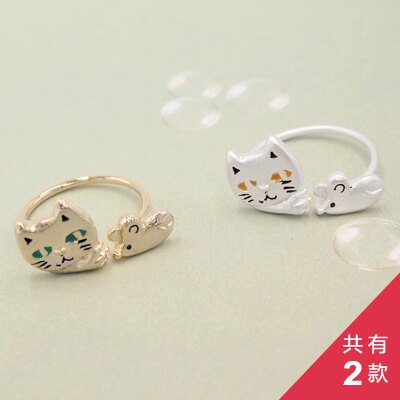 〔APM飾品〕日本Luccica 貓鼠大戰捉迷藏戒指 (金色系) (銀色系)