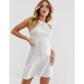 エイソス レディース ワンピース トップス ASOS DESIGN high neck low back mini linen sundress White
