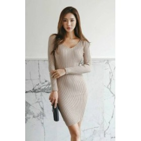 韓国 ファッション レディース ワンピース ミニ丈 リブ ニット セーター Vネック タイト セクシー 長袖 シンプル パーティー お呼ばれ 二