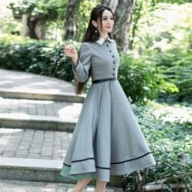 英国のお嬢様のように着ているクラシック一品。ワンピース マキシワンピース ロングワンピース