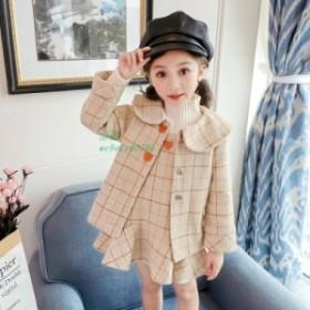 韓国子供服 アウター ウール サロペットスカート ダッフルコート 冬物 上下セット 女の子 セットアップ