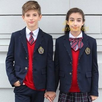 入学式 スーツ 女の子 バッジ付き 子供スーツ 学生服 男の子 カジュアル 子供服 フォーマル キッズ 小さいサイズ 5点セット 大きいサイズ
