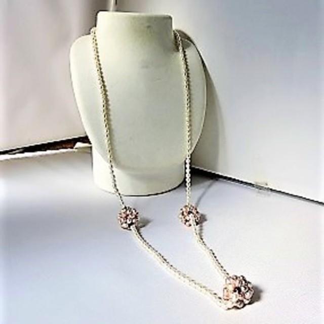 【ロングネックレス】淡水パールと花玉のネックレス