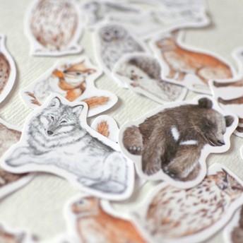 森の動物たちのフレークシール