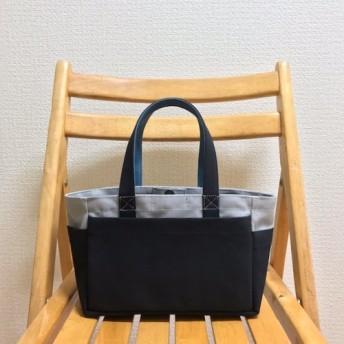 「ボックストート」ミニサイズ 「グレー×ブラック(黒)×ミネラルブルー」帆布トートバッグ 倉敷帆布8号【受注制作】