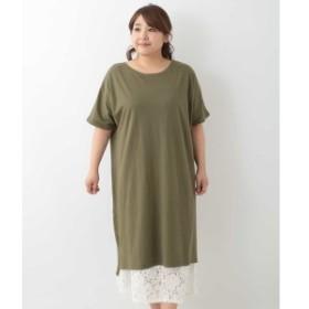 エウルキューブ(eur3)/【大きいサイズ】デザインインナー付きTシャツワンピース
