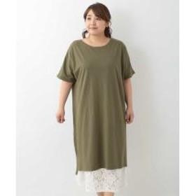 【大きいサイズ】デザインインナー付きTシャツワンピース【お取り寄せ商品】