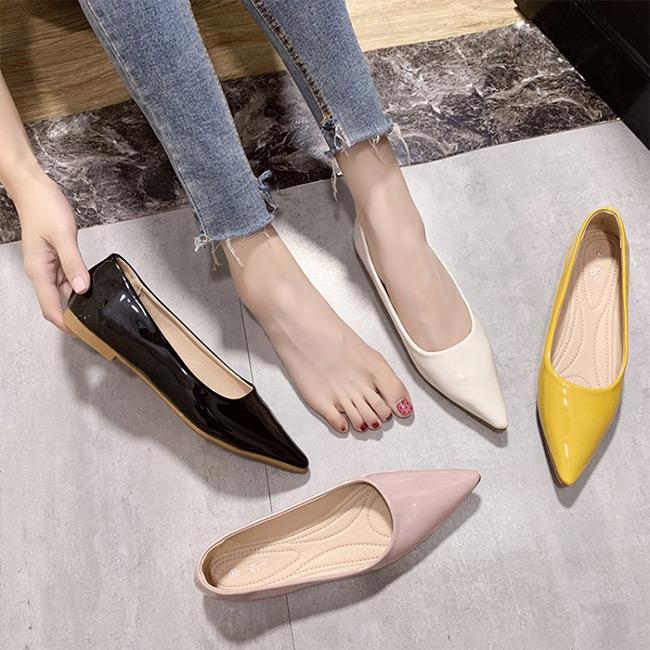 FOFU-包鞋上班族OL通勤鞋素色尖頭鞋微低跟包鞋【02S11189】