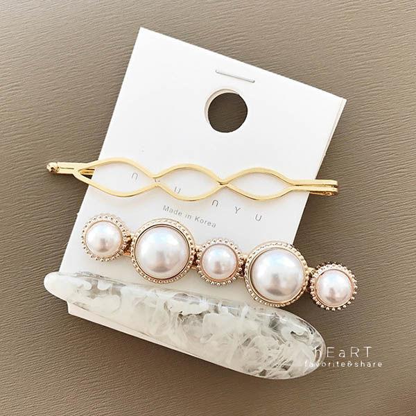 歐風大理石珍珠髮夾 3件組 髮夾 髮飾 頭飾 髮卡 瀏海夾 邊夾