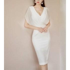 ワンピース ドレス ひざ丈 Vネック 袖あり 透け感 セクシー 上品 大人 パーティー お呼ばれ 二次会 韓国 オルチャン