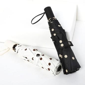 折り畳み傘 レディース 日傘 雨傘 雨具 ドット柄 8本傘骨 晴雨兼用 UVカット 紫外線カット 日焼け防止 ブラック ホワイト