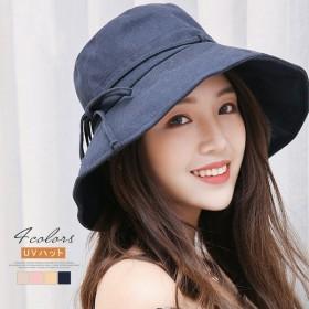 UVカット 紫外線カット レディース 帽子 大き目 サイズ調整可能 おしゃれ 可愛い サファリハット 日焼け リボン結び 日よけ UVケア UVハット