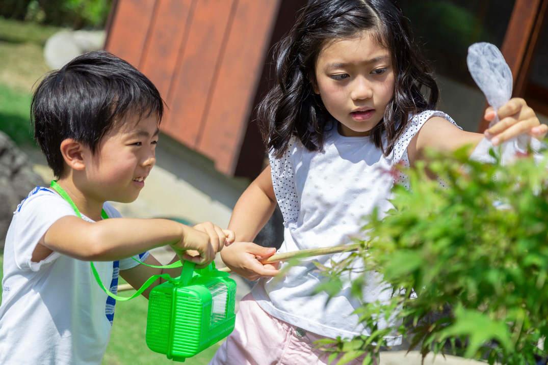 虫取り網をつかむ姉と虫かごを差し出す弟