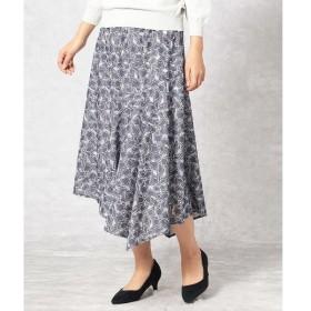 Comme ca Mature / コムサマチュア 【オパール加工とプリントで花柄を表現】アシンメトリースカート