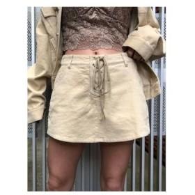 ENVYM スピンドルコーデュロイフロントスカートショートパンツ ベージュ