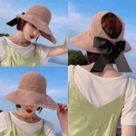 レディース帽子 帽子 折りたたみ 麦わら帽子 リボン 夏 つば広 ハット サンバイザー UVカット ビーチハット レディース ビーチ帽子 春 麦