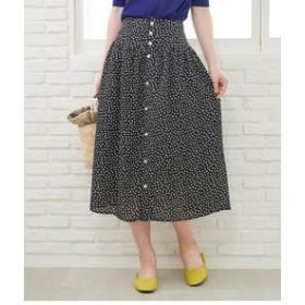 【ROPE' PICNIC:スカート】【WEB限定】【セットアップ対応】スクエアドットフロントボタンスカート