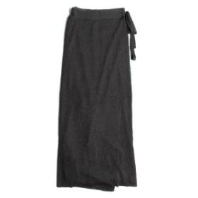 TAN(タン) SOFT SHINY WRAPPED SKIRT リブ ニット ラップスカート 19春夏  ブラック 【レディース】【K2319】